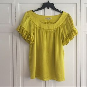 Nanette Lepore silk yellow ruffle pleat blouse sz8